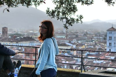 Overlooking the town of Lucca