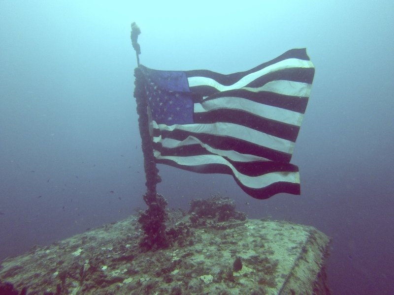 Old Glory aboard the Spiegel Grove