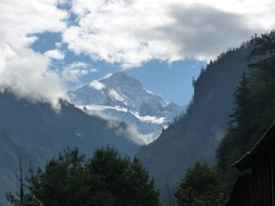 Oh, so there are mountains in the Himalayas? Chame is our first real glimpse of peaks.