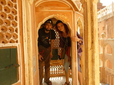 Hippies in the Hawa Mahal, wizard sleeves and all.