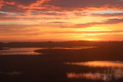 Sunrise over Sete - from the train