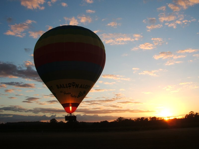 Sunrise and the balloon next to us