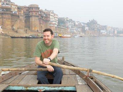 James testing his rowing skills in Varanasi