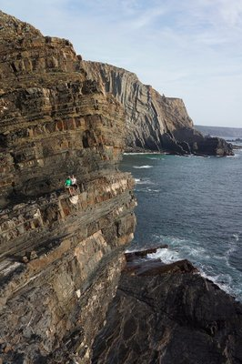 Can you spot us perched on the shale cliff?