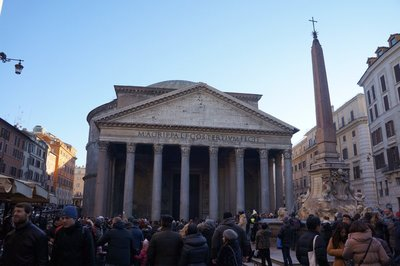 Making our way through the crowds at the Pantheon