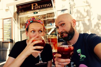 One of the many times we had sangria in Barcelona