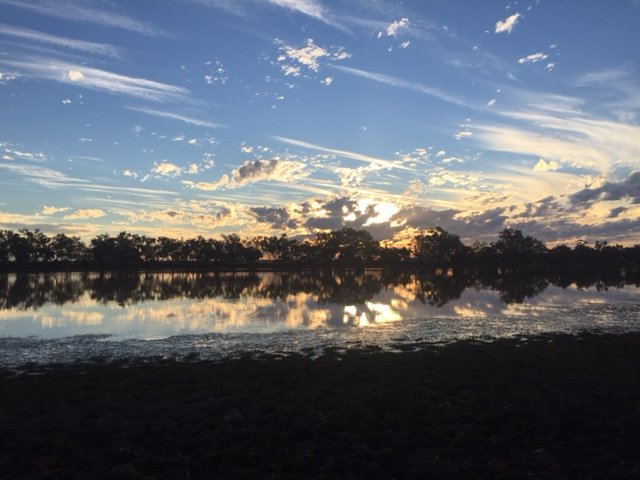 Sunset over the lake at Quilpie