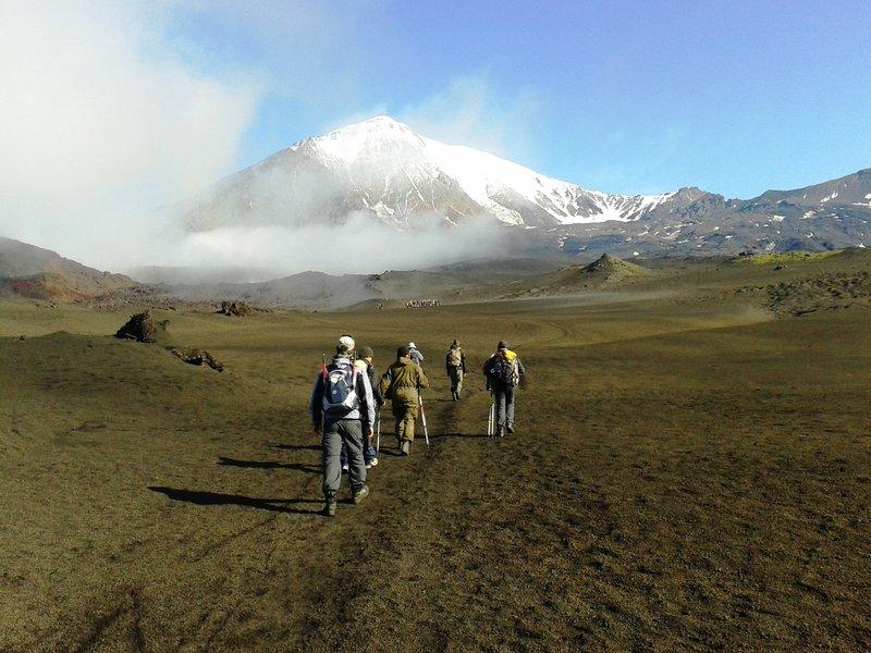 Marche d'approche au volcan