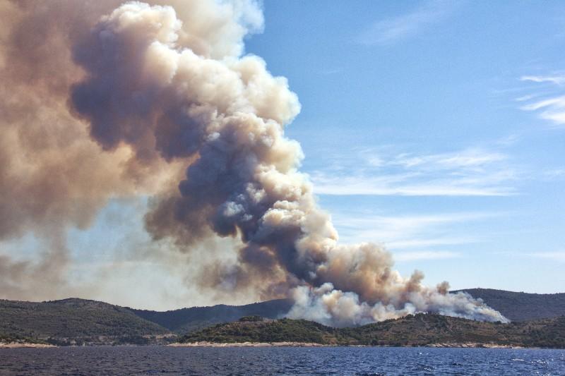 Fire on Vis Island, Viz, Croatia