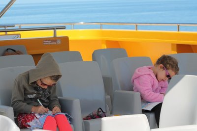 keeping entertained on the way to see the whales...