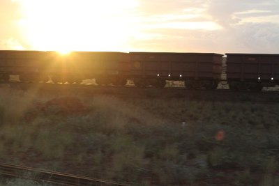 Sunset over the Rio Tinto train