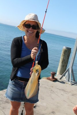 Yay, Tina catches another squid.