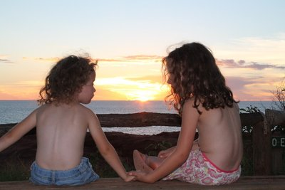 Gorgeous girls watching the sunset