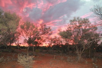 Sunset on the over night stop in the bush