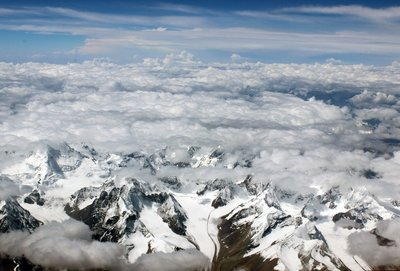 Himalayas through the clouds