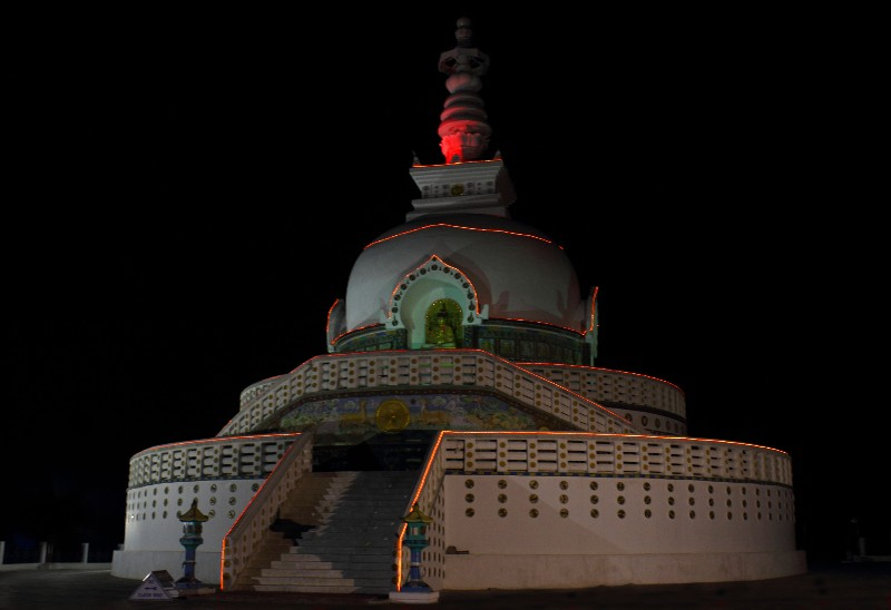 Shanti Stupa at Night