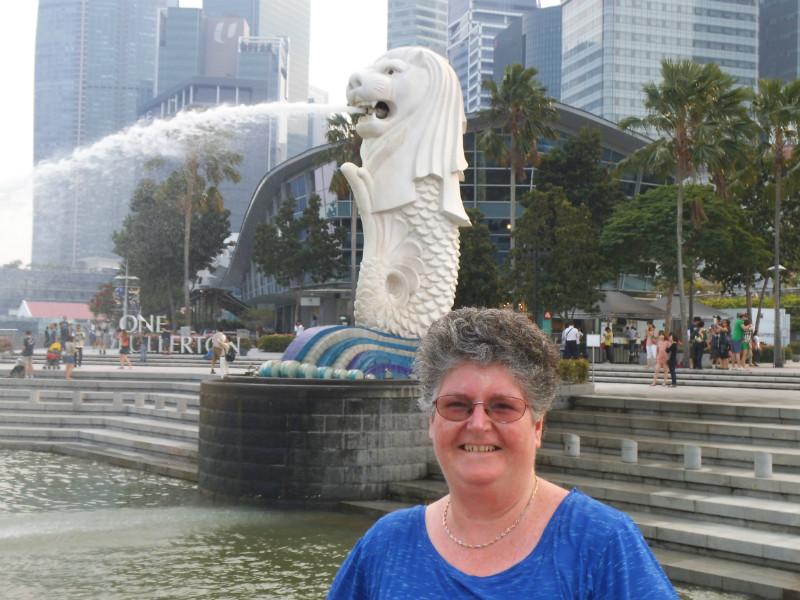 Kay at Merlion Fountain Singapore