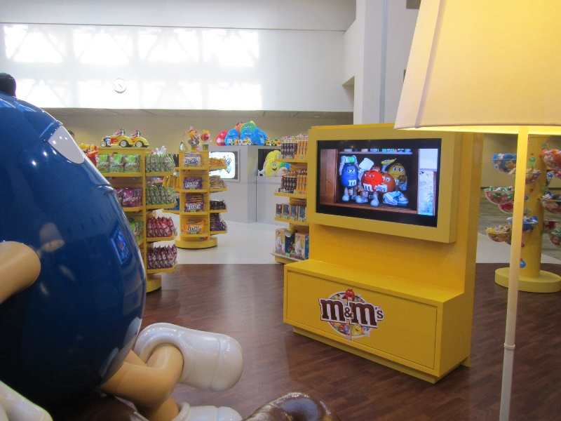 Watching m&m ads with the blue m&m, Singapore
