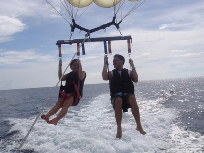 Me and my husband parasailing!