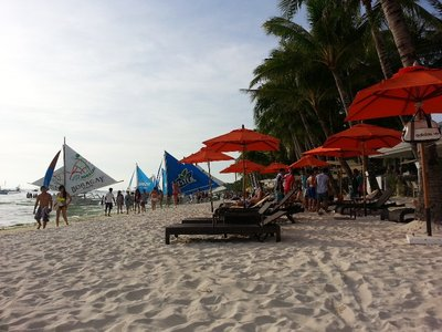 Fine white sand of Boracay