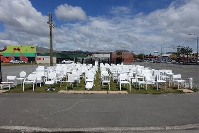 One chair for each person that died in the earthquake. This was instantly moving, right in the middle of the city.