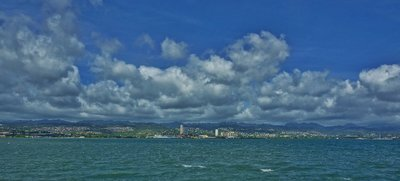 Panoramic of Pearl City from the middle of Pearl Harbor, James Brennan Molokai Hawaii