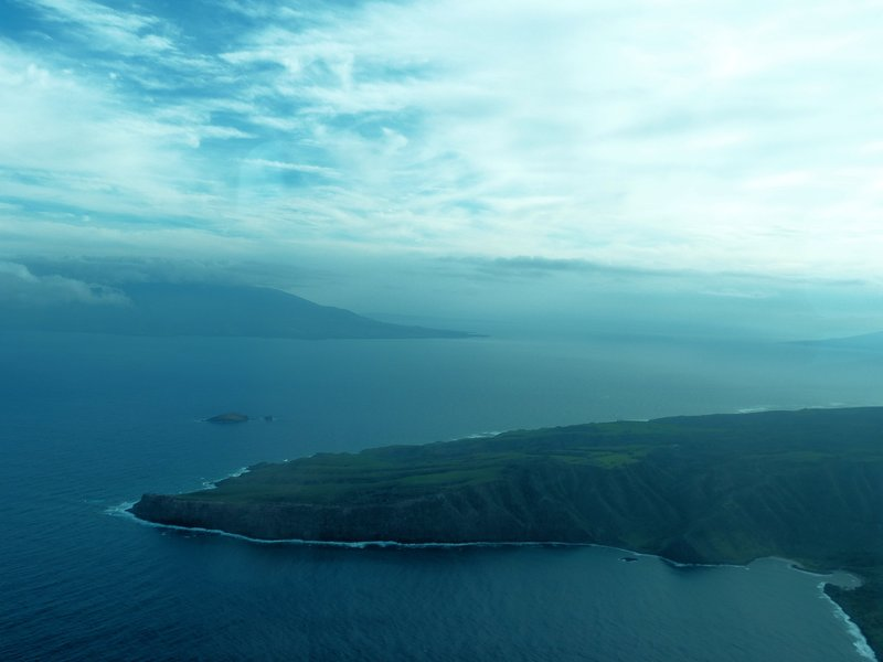 Lanai - Molokai  - Maui 3 island view.  James Brennan Molokai Hawaii