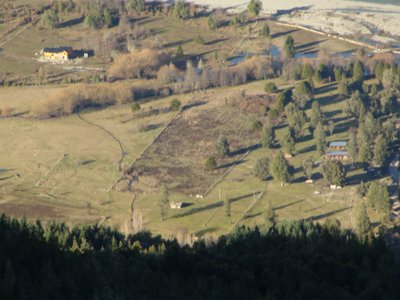 View of the Ecolodge and the farm from the mountain