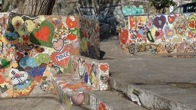 A sweet mosaic park bench