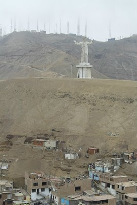 Cristo del Pacifico right above the poorest slums of Lima
