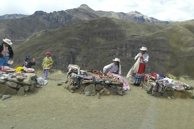 Women selling textiles on the side of the road