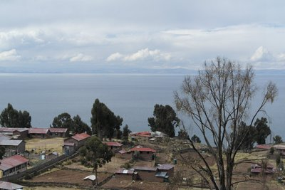 View of the lake from the island - the hills on the other side is Bolivia