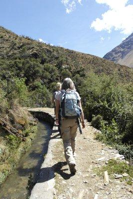 Erika hiking along