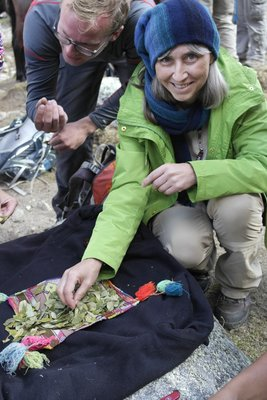 Chewing some coca leaves to help with the altitude