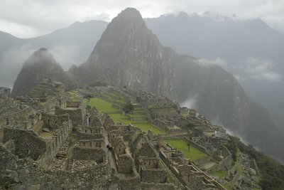 Our first glimpse of cloudy Machu Picchu!