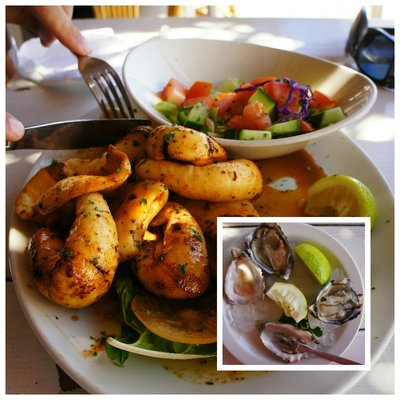 Delicious grilled calamari and oysters