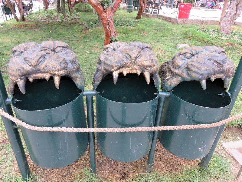 Rubbish bins with Puma heads Ollantaytambo
