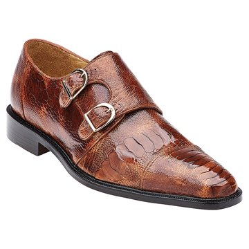 Brandy Genuine Ostrich Monkstrap by Belvedere Exotics