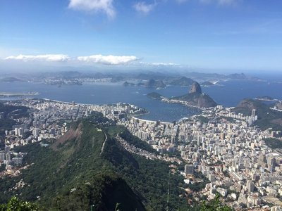 View of Botafogo and Sugarloaf Mountain from next to the Christ the Redeemer statue