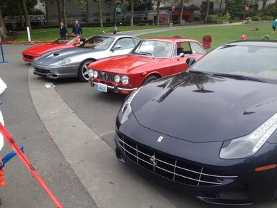 Some fancy cars on display at the Seattle Centre