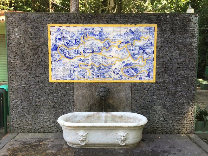 Map and marble bath in the Tijuca Forest, Rio de Janeiro
