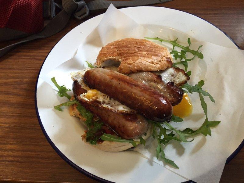 Sausage & egg butty, Crystal Palace station cafe