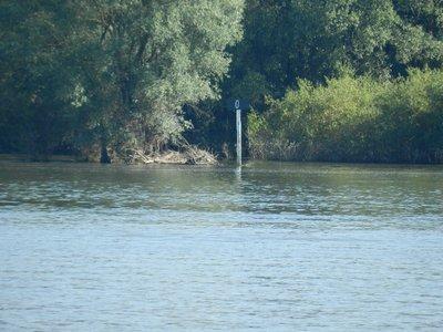 Flusskilometer 0 am Zusammenfluss der Drau mit der Donau