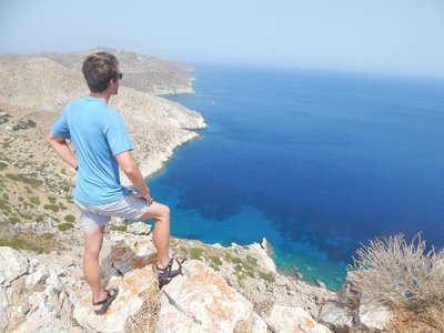 View over cliff of Folegandros