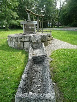 stone troughs and wellhead