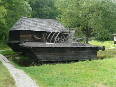 waterwheel and barn