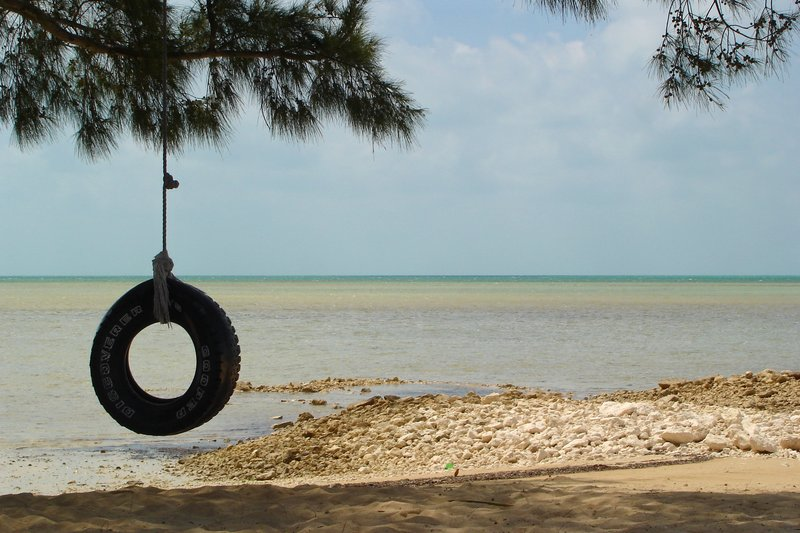 Tire swing beach scene on New Providence Island