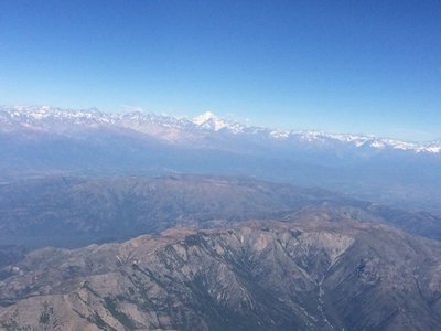 Los Andes from the air around Santiago
