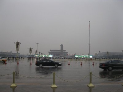 Tiananmen Square in the rain