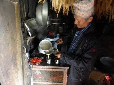 Serving Nepalese thee with buffalo milk